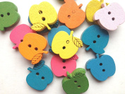 100pcs Mixed Wooden Buttons in Bulk Buttons for Crafts Apple Bu-60