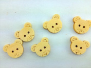 100pcs Mixed Wooden Buttons in Bulk Buttons for Crafts Button Pure Colour Bears Buttons Bu-107