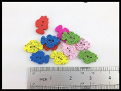 100pcs Mixed Wooden Buttons in Bulk Buttons for Crafts Button Vintage Lovely Fish Buttons Bu-114