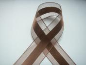 Brown Organza and Satin Ribbon 3.8cm Wide 25 Yards