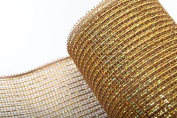Brown and Metallic Thread Poly Deco Mesh Ribbon - 50cm Wide X 10 Yard Roll