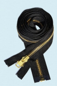 120cm Jacket Zipper ~ YKK #10 Extra Heavy Duty ~ Brass Separating ~ Black