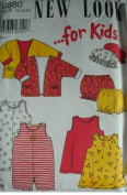 INFANT TO TODDLER TOP, HAT, SHORTS, DRESS AND ROMPER SIZES 1/2-1-2-3-4 NEW LOOK FOR KIDS PATTERN 6880