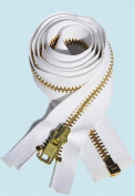 120cm Jacket Zipper ~ YKK #10 Extra Heavy Duty ~ Brass Separating ~ 501 White