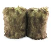 ECOSCO One Pair 20cm Faux Wolf Fur Leg Warmers Women Lady WARM SOFT cosy FUZZY Fashion Warmers Boots Cuffs Cover