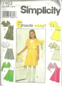 Girls Dress And Jacket (Simplicity Sewing Pattern 7463, Size