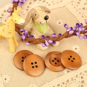 Vktech 100PCS 27mm Round Wood Buttons 4 Holes for Sewing DIY Home Textile