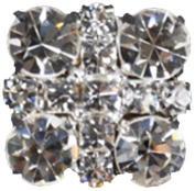 Rhinestone Button BRB-114, 1.9cm Silver Resin Base Button, Each Carded