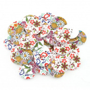 YARUIE 4 Holes Assorted Pattern Round Wooden Buttons Fit Sewing and Scrapbooking 30 MM White