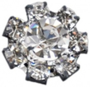 Rhinestone Button BRB-108, 1.6cm Silver Resin Base Button, Each Carded