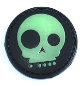 A Black Funny Skull Glow in the Dark PVC hook and loop Patch