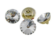 "3/4"" [18mm] Crystal Upholstery Buttons with Silver Finish Metal Base & Loop, 24 Pcs"