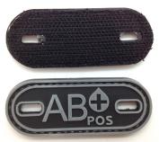 Matrix PVC Oval Blood Type Patch - AB POS / Black