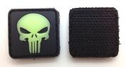 Skull Glow in the Dark PVC hook and loop IFF Patch - Black 20mm