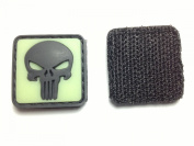 Skull Glow in the Dark PVC hook and loop IFF Patch - Green 20mm