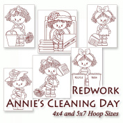 Annie's Cleans House Redwork Raggedy Ann Embroidery Machine Designs on CD - Multiformat