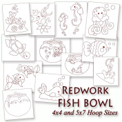 Redwork Whimsical Fish Bowl Embroidery Machine Designs on CD - Multiformat