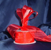 Sheer Organza Ribbon Mono Edge - 3.8cm - 25 Yards (75 FT) - Red