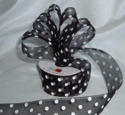 Organza Polka Dot Ribbon - 3.8cm - Black/White Dots - 25 Yards