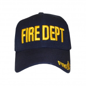 Fire Department FDhook and loopOne Size Fits All Navy with Yellow Embroidered