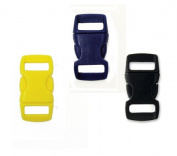 Mix of 75 Black, Sapphire Blue, Yellow 1cm Buckles (25 each) , Contoured Side-Release. Perfect for Paracord Bracelets.