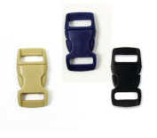 Mix of 75 Black, Tan, Sapphire Blue 1cm Buckles (25 each) , Contoured Side-Release. Perfect for Paracord Bracelets.