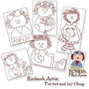 Redwork Annie - Raggedy Ann - Machine Embroidery Designs on CD