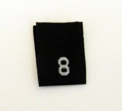 Size 8 (Eight) Black Woven Clothing Size Labels