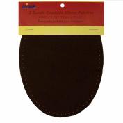 2/pkg Sew-on 12cm x 17cm Dark Brown Suede Cowhide Elbow Repair Patches