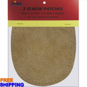 2/pkg Sew-on 11cm x 15cm Beige Suede Cowhide Elbow Patches