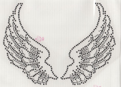 Large Angel Wings Iron On Hot Fix Rhinestone Transfer -- Black