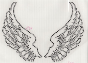 Large Angel Wings Iron On Hot Fix Rhinestone Transfer -- Black