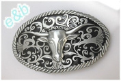 Brand:e & b Western Cattle Skull Bull Horns Belt Buckle Wt-015bk