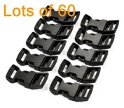 Cosmos ® 60 PCS 1.6cm Economy Contoured Side Release Plastic Buckles with Cosmos Fastening Strap