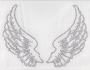 Large Angel Wings Iron On Hot Fix Rhinestone Transfer -- Clear