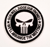 "Tactical Swat Punisher Skull ""God Will Judge Our Enemies"" We'll Arrange the Meeting hook and loop Patch"