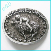 Brand:e & b Mutton Busting Champion Sheep Riding Enamelled Belt Buckle Wt-106as