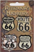 Novelty Iron On Patch - Car Culture Route 66 Set of 4 - Applique