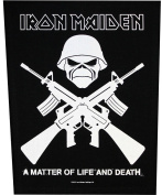 XLG Iron Maiden Crossed Guns A Matter Of Life Death Metal Music Band Woven Applique Patch