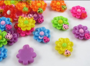 100pcs Sunflower Ladybug Flat Backed Resin Flatback Button