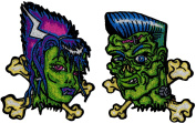 Novelty Iron On Patch - Creepy Zombie Dead Frankie & Bettie Crossbone Green Dead Faces Applique