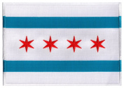 Chicago City Flag Large Embroidered Patch Iron-On Illinois Emblem