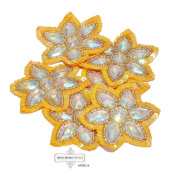 Costume Applique Craft Fabric Indian Orange Floral Design Sewing Fabric Patches Beaded Antique Bridal Patch 5 Pcs