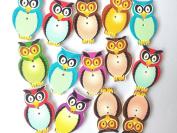 Cutedream Wooden Cartoon Buttons Owl 50pcs