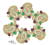 Dress Appliqués Traditional Craft Fabric Indian Sari Patches Home Decor Paisley Design Crafted Beaded Sewing Royal Golden Appliqué Costume Apparel Patch 10 Pcs.