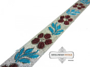 Indian Sari Apprael Border Home Decor Silver Ribbon Craft Fabric Lace Floral Design Decorative 1 Yard Trim Hand Crafted.