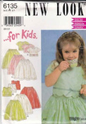 New Look Sewing Pattern 6135 Girls Size 2-7 Formal Full Skirt Button Back Top