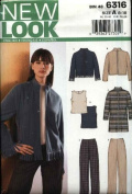 New Look Sewing Pattern 6316 Size 8-18 Coat Jacket Pants Top