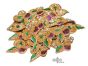 Traditional Hand Crafted Patches Bridal Women Indian Appliques Floral Design Golden Patch Beaded Home Decor Antique Applique 10 Pcs.