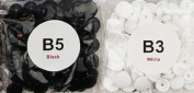 200 Sets White & Black - Size 20 (1.3cm ) - KAM Plastic/Resin Snaps/Snap for Nappies/Bibs/Cloth/PUL